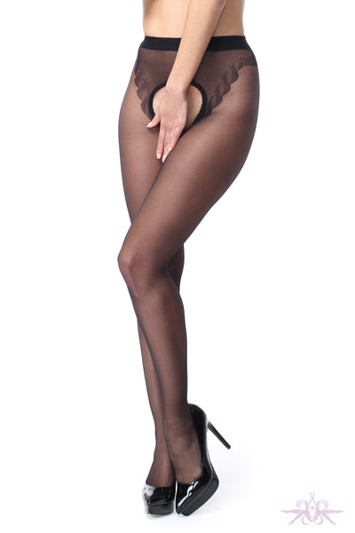 MissO 20 Denier Shiny Open Crotch Black Seamed Tights - Mayfair Stockings