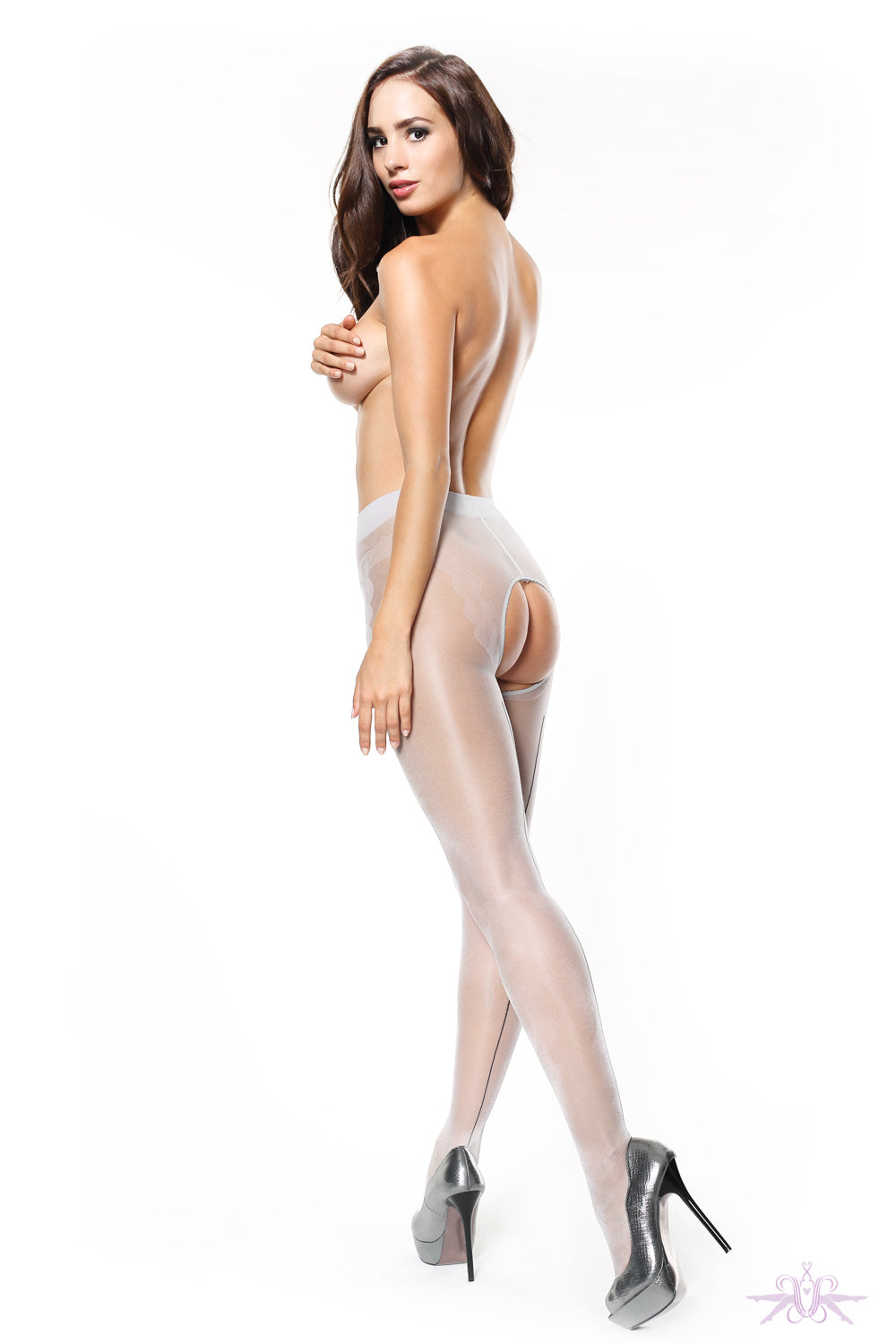 MissO 20 Shiny Open Crotch Silver/Black Seamed Tights