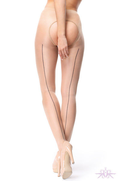 MissO 20 Denier Shiny Open Crotch Beige/Black Seamed Tights - Mayfair Stockings
