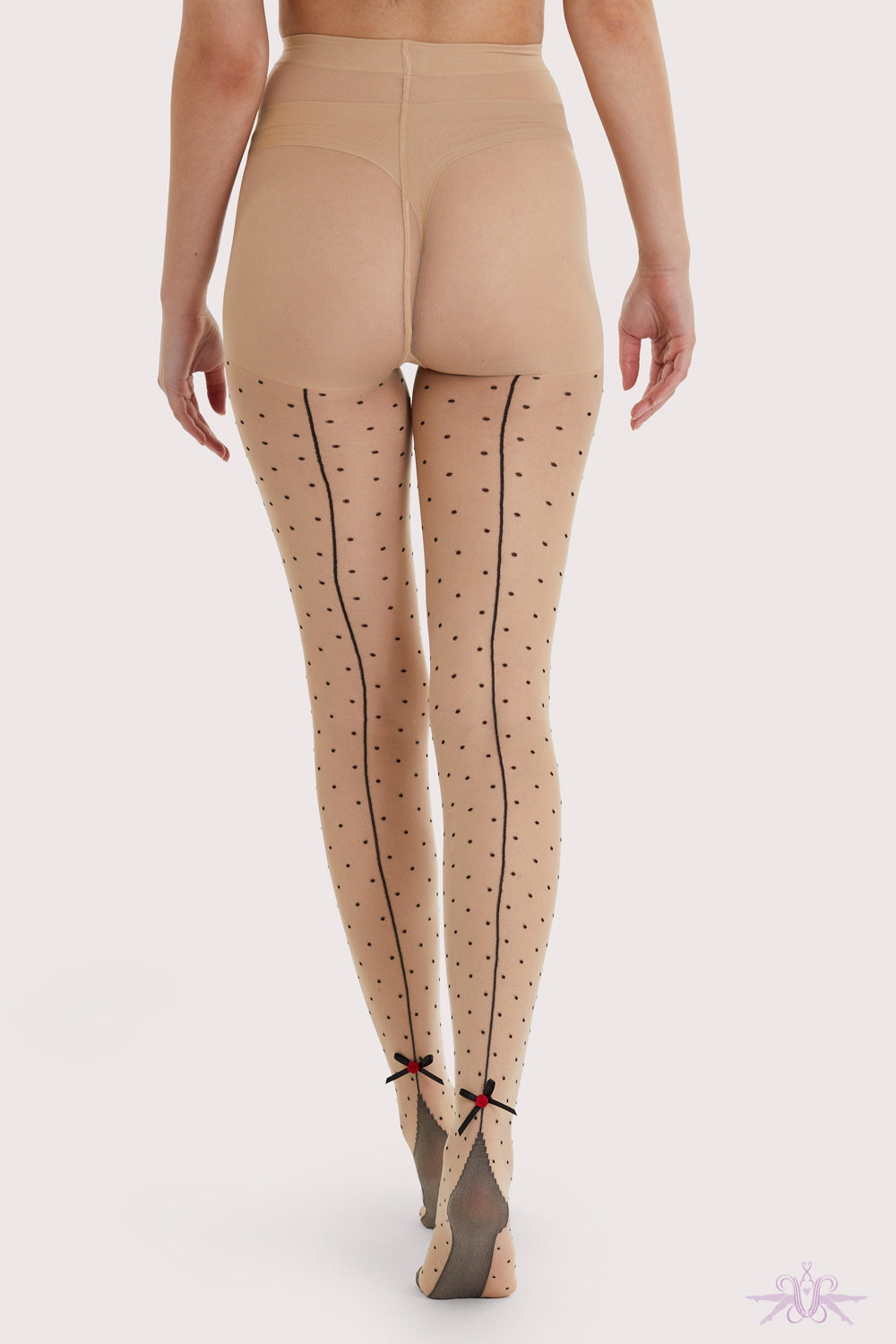 Playful Promises Dotty Seamed Tights with Bow