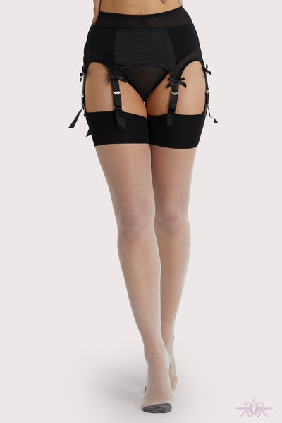 Playful Promises Creme De Peche Bow Seamed Stockings
