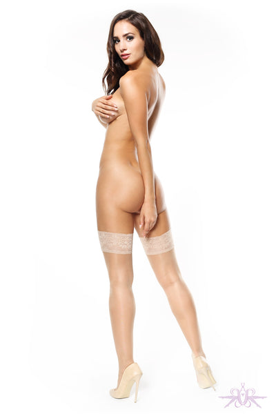 MissO Shiny 15 Denier Beige Lace Hold Ups - Mayfair Stockings