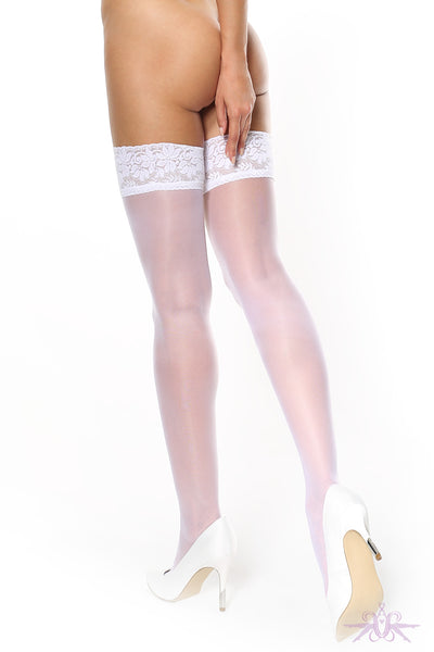 MissO Shiny 15 Denier White Lace Hold Ups - Mayfair Stockings