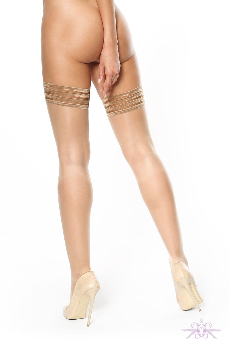 MissO Shiny 15 Denier Beige Hold Ups - Mayfair Stockings