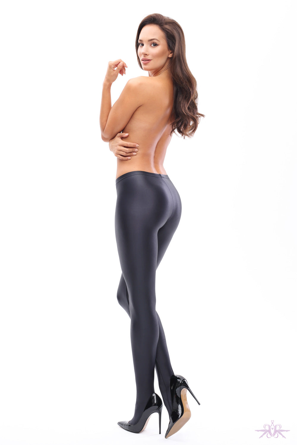 MissO Glossy Opaque Black Tights - Mayfair Stockings