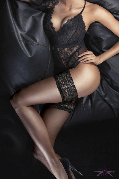 Couture Ultra Gloss Lace Hold Ups - Mayfair Stockings