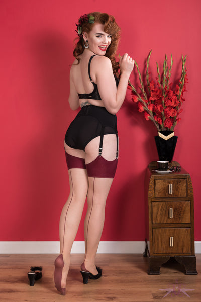 What Katie Did Contrast Nude/Claret Seamed Stockings - Mayfair Stockings