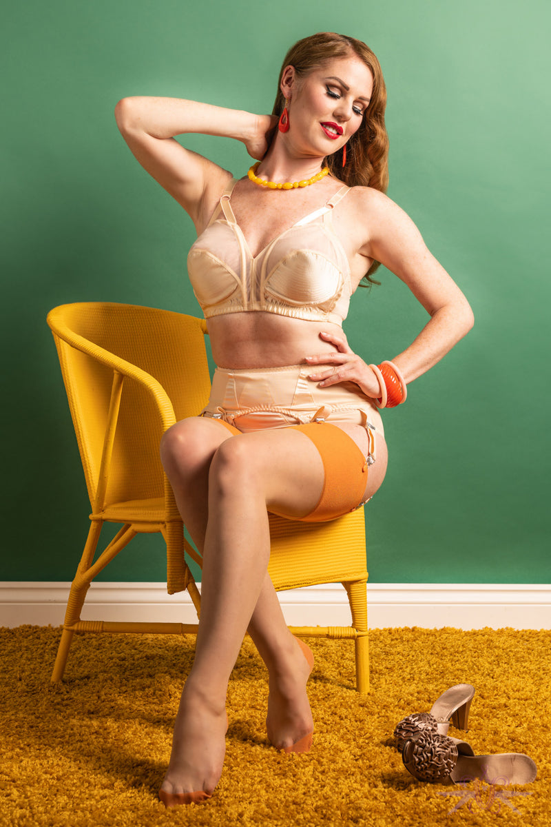 What Katie Did Contrast Nude/Pumpkin Seamed Stockings - Mayfair Stockings