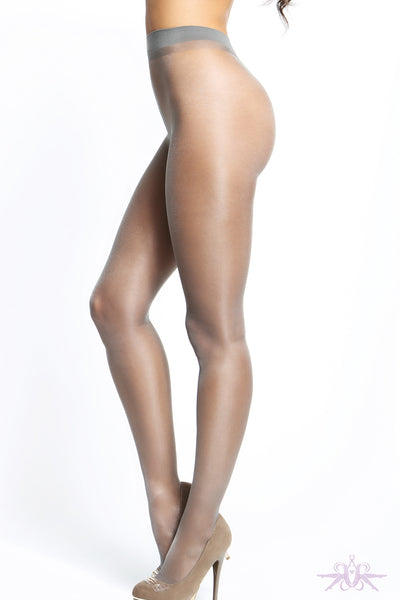 MissO 20 Denier Shiny Open Crotch Grey Tights - Mayfair Stockings