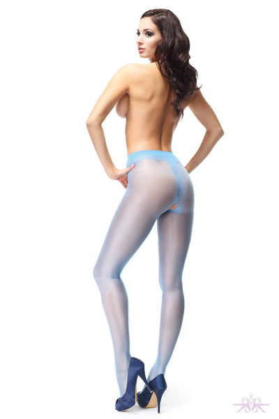 MissO 20 Denier Shiny Open Crotch Blue Tights
