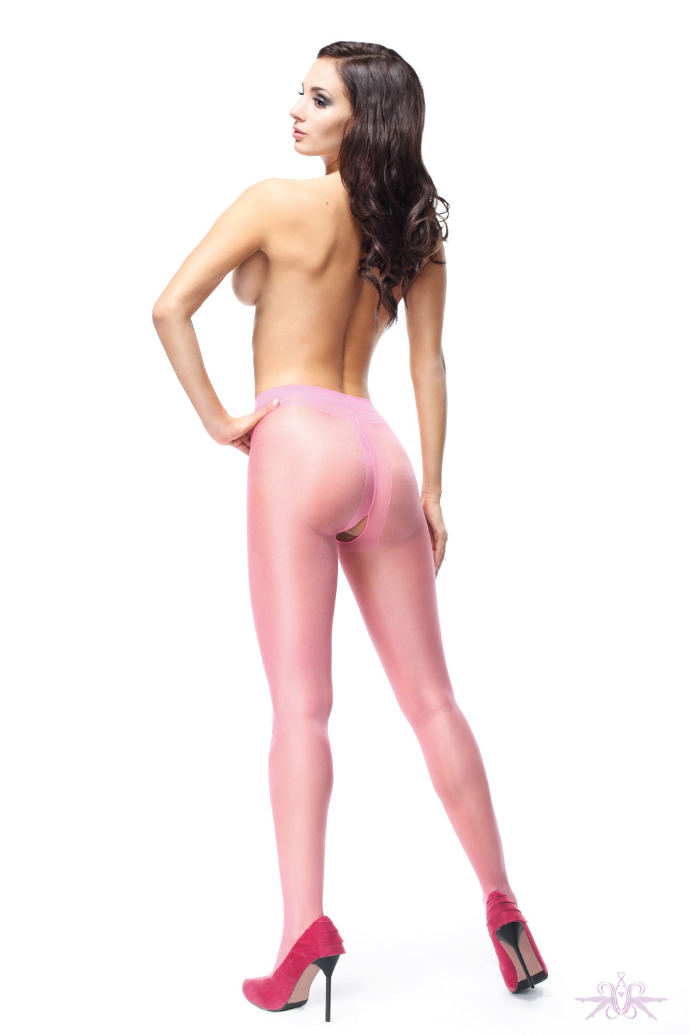 MissO 20 Denier Shiny Open Crotch Pink Tights