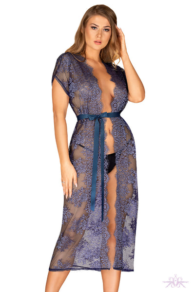 Obsessive Blue Long Lace Peignoir