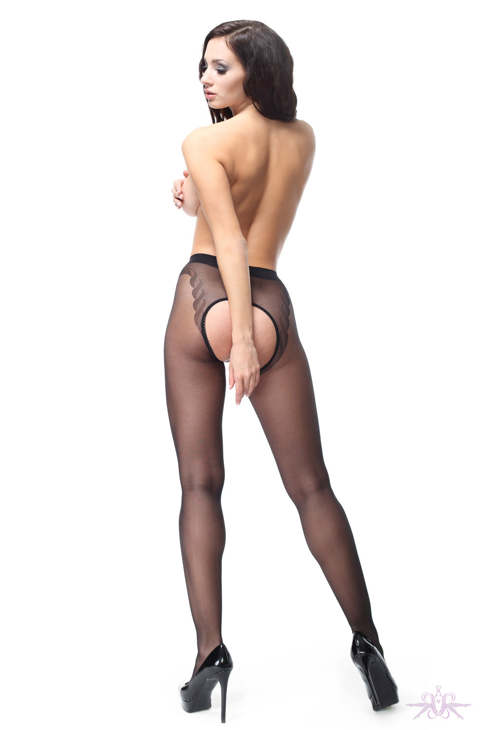 MissO 20 Denier Shiny Open Black Tights