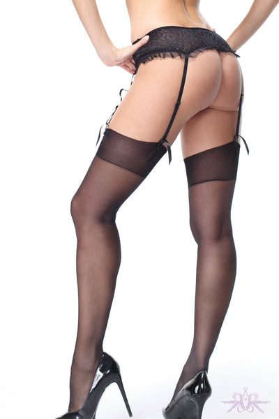MissO Shiny 15 Denier Black Stockings - Mayfair Stockings