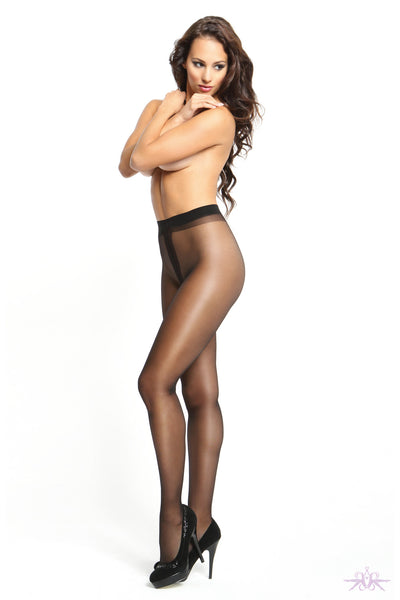 MissO 20 Denier Shiny Open Crotch Black Tights - Mayfair Stockings