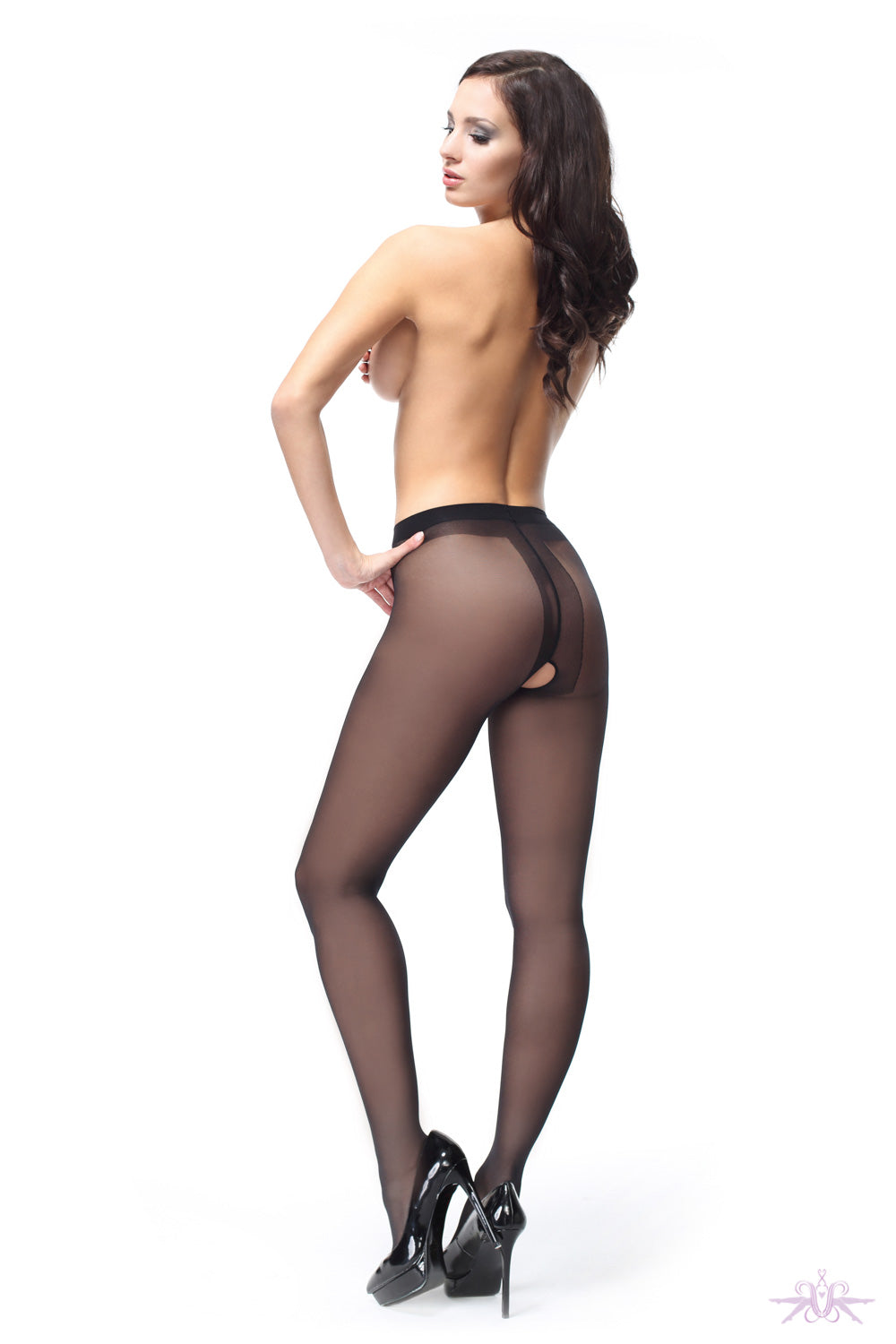 MissO 40 Denier Shiny Open Crotch Black Tights - Mayfair Stockings