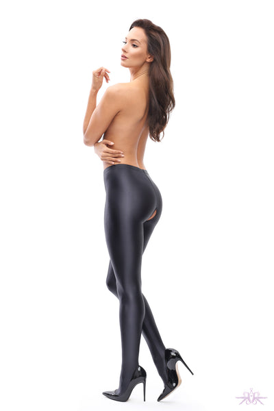 MissO Glossy Opaque Open Crotch Black Tights - Mayfair Stockings
