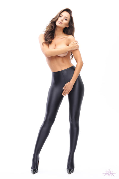 MissO Glossy Opaque Open Crotch Black Tights