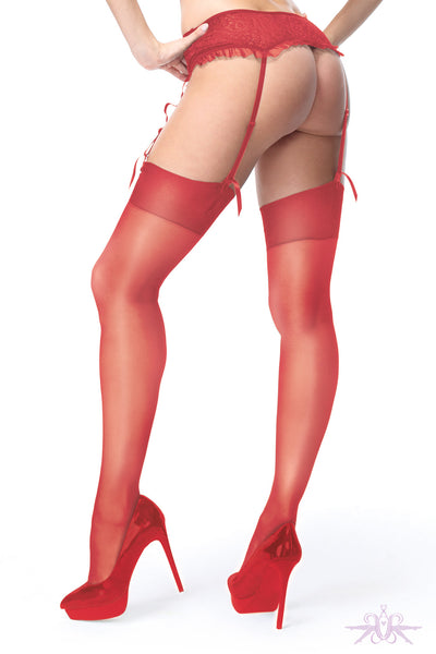 MissO Shiny 15 Denier Red Stockings - Mayfair Stockings