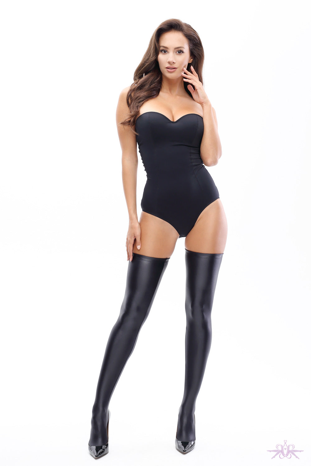 MissO Glossy Opaque Hold Ups - Mayfair Stockings