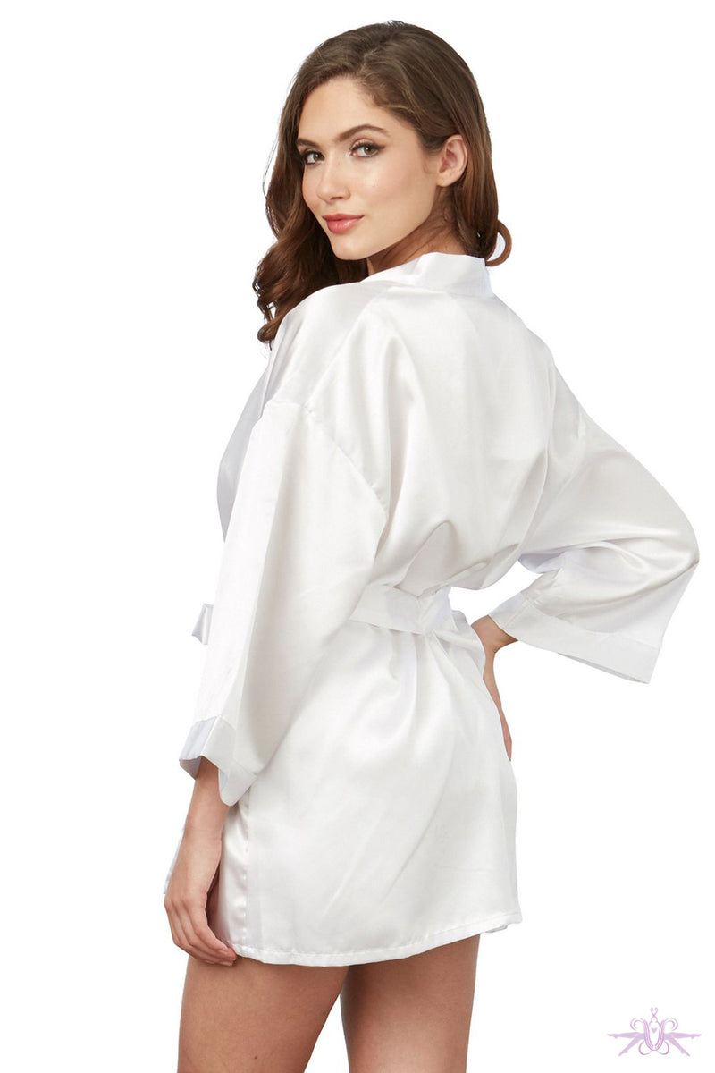 Dreamgirl Short Satin White Kimono and Chemise