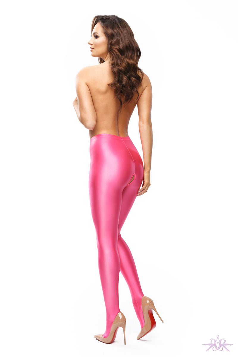 MissO Glossy Opaque Open Crotch Pink Tights