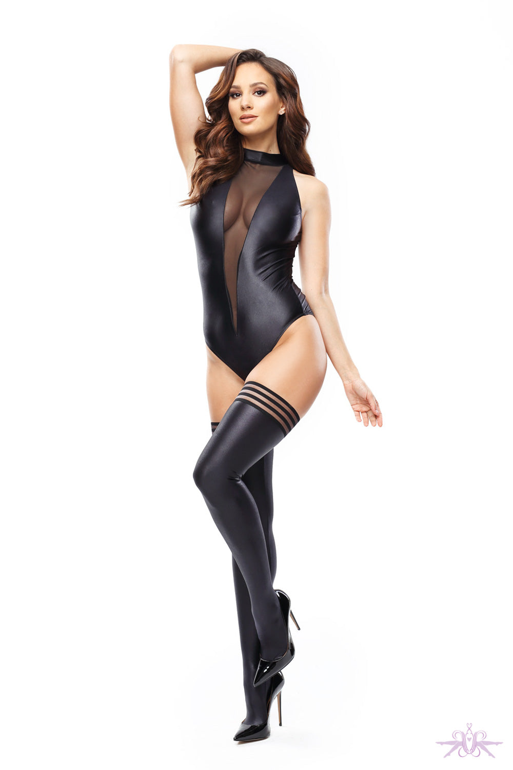 MissO Glossy Opaque Stripe Top Hold Ups