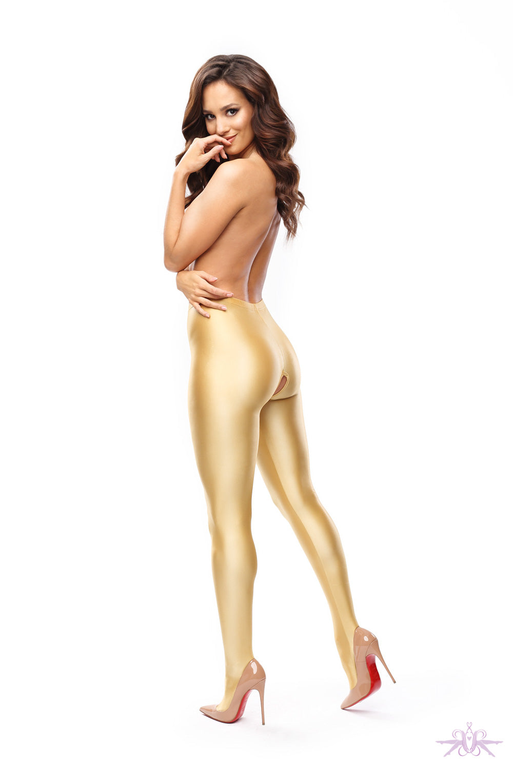 MissO Glossy Opaque Open Crotch Gold Tights