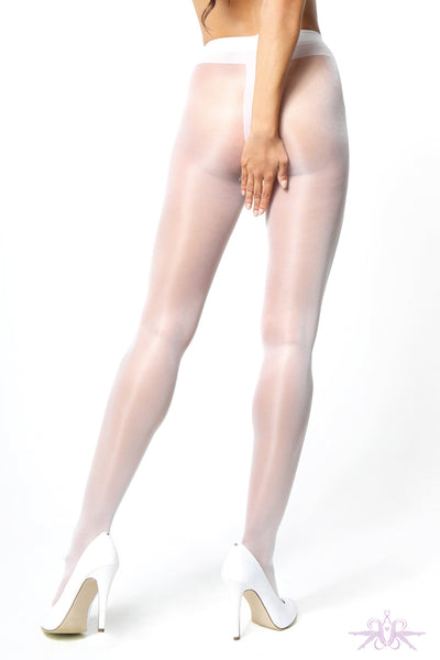MissO 20 Denier Shiny Open Crotch White Tights - Mayfair Stockings