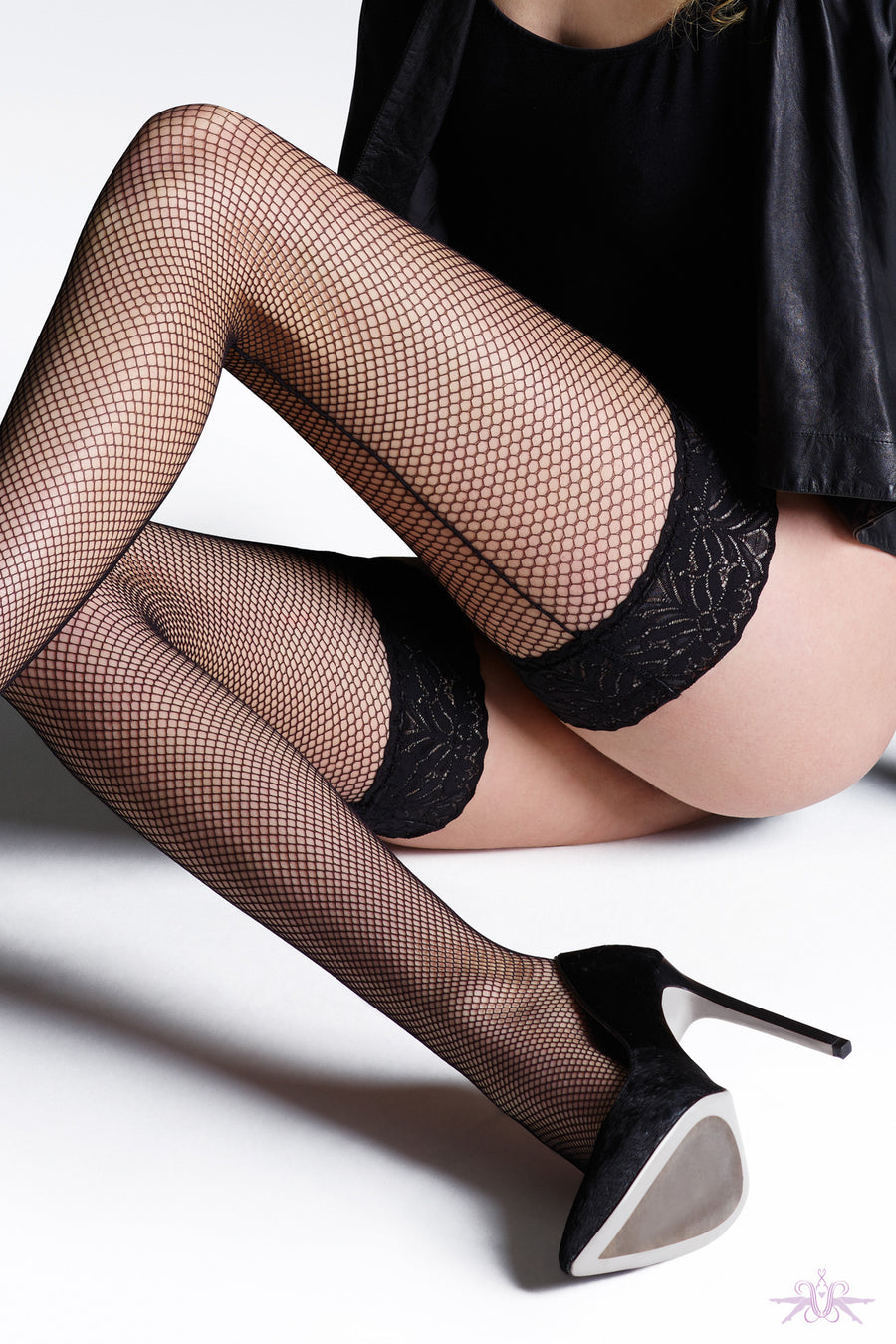 Jonathan Aston Fishnet Backseam Hold Ups - Mayfair Stockings