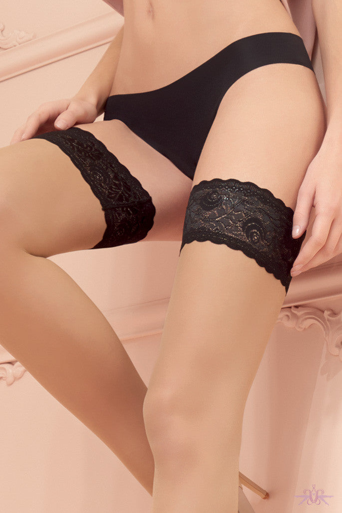 Trasparenze Rosy Contrast Lace Hold Ups - Mayfair Stockings