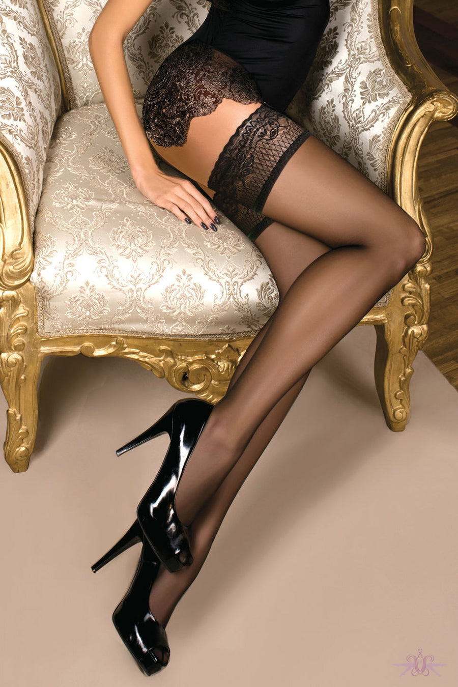 Ballerina Sheer Black Hold Ups - Mayfair Stockings