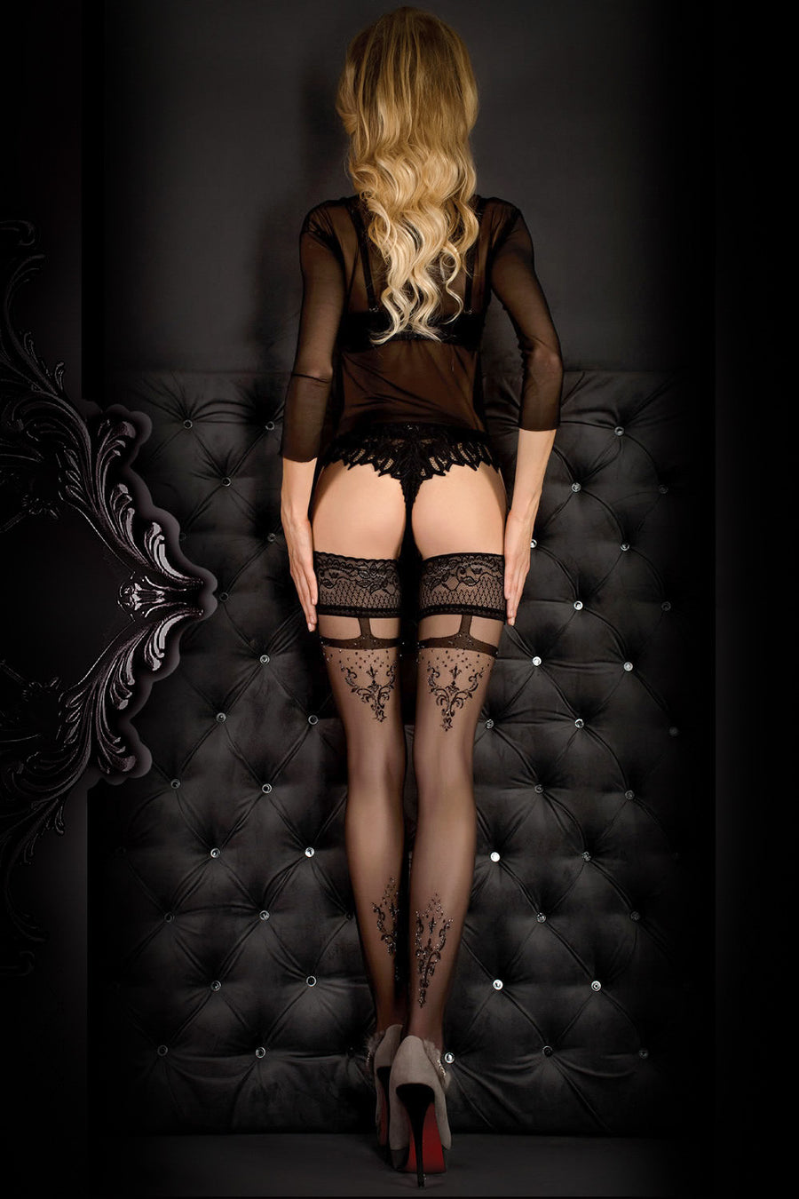 Ballerina Faux Suspender Floral Black Hold Ups - Mayfair Stockings