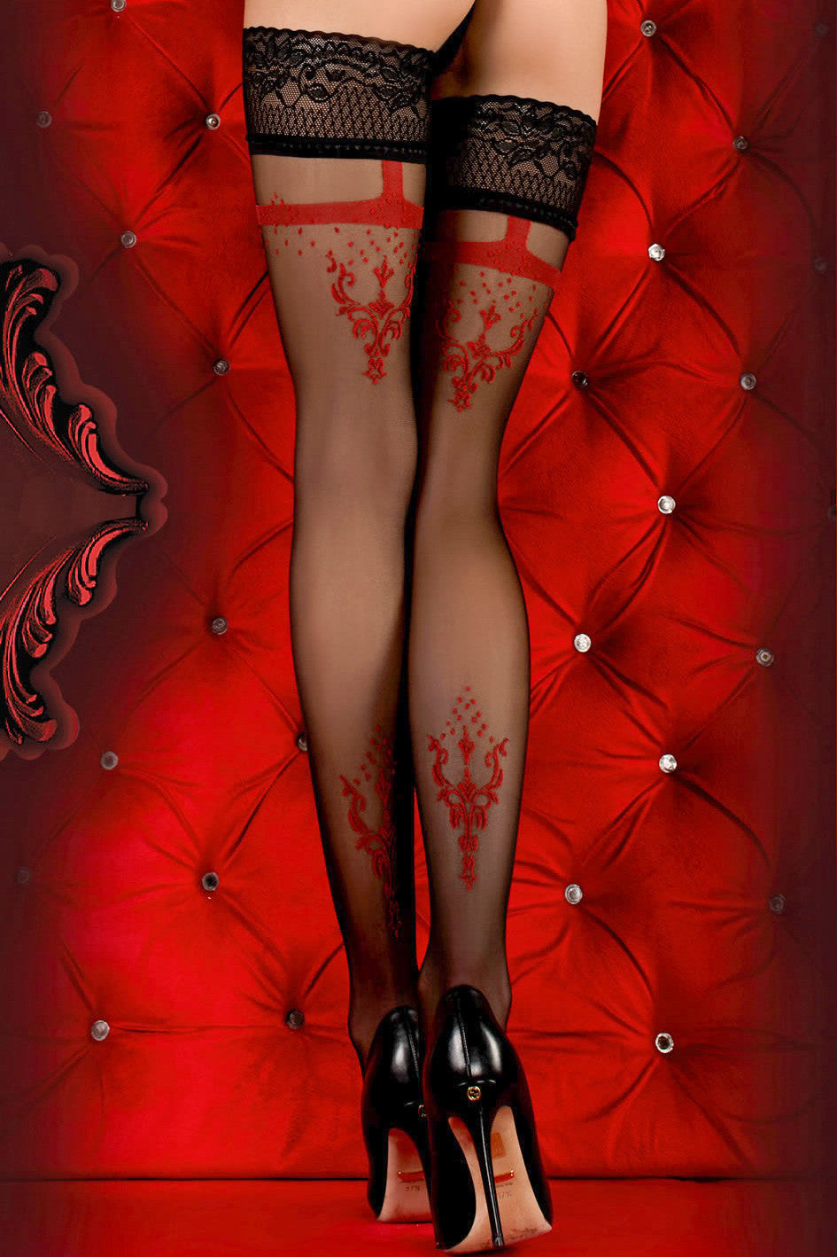 Ballerina Faux Suspender Floral Black/Red Hold Ups - Mayfair Stockings - Ballerina - Hold Ups - 1