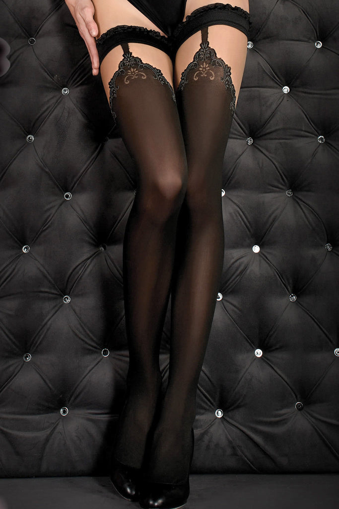Ballerina Faux Suspender Opaque Black/Grey Hold Ups - Mayfair Stockings - Ballerina - Hold Ups - 3