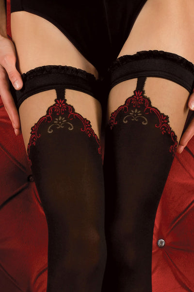 Ballerina Faux Suspender Opaque Black/Red Hold Ups - Mayfair Stockings