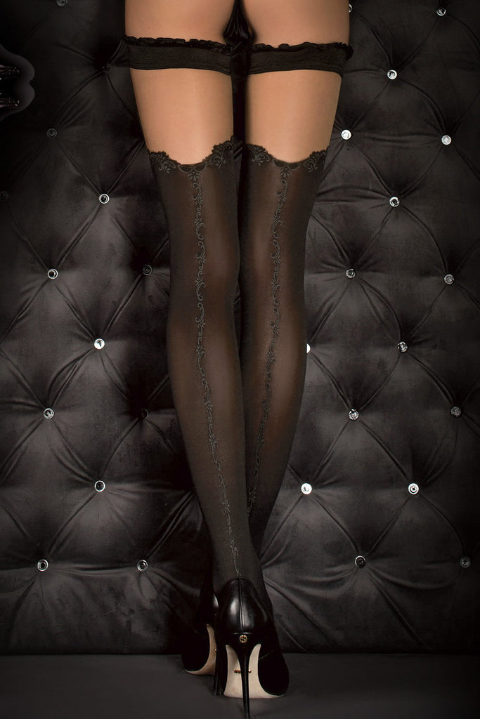 Ballerina Faux Suspender Opaque Black/Grey Hold Ups - Mayfair Stockings - Ballerina - Hold Ups - 4