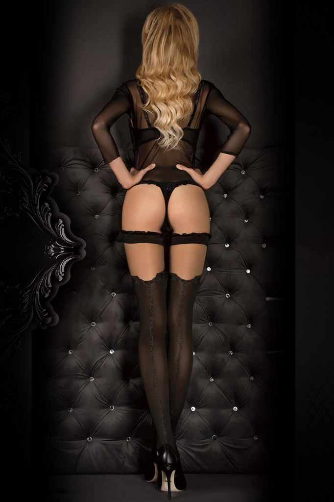 Ballerina Faux Suspender Opaque Black/Grey Hold Ups - Mayfair Stockings - Ballerina - Hold Ups - 2