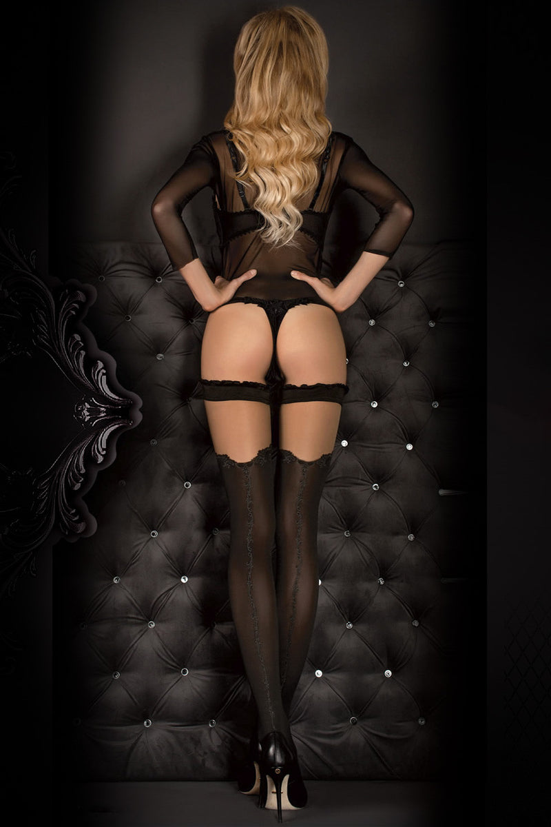 Ballerina Faux Suspender Opaque Black/Grey Hold Ups - Mayfair Stockings