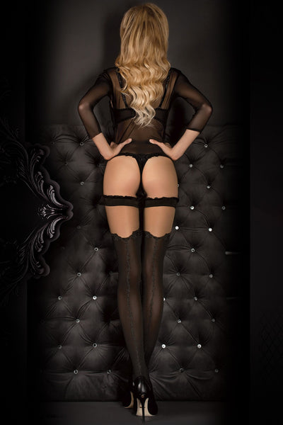 Ballerina Faux Suspender Opaque Black/Grey Hold Ups - Mayfair Stockings - Ballerina - Hold Ups - 1