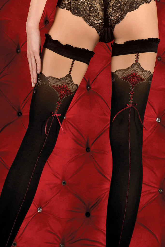 Ballerina Red Seamed Black Opaque Hold Ups - Mayfair Stockings - Ballerina - Hold Ups - 3
