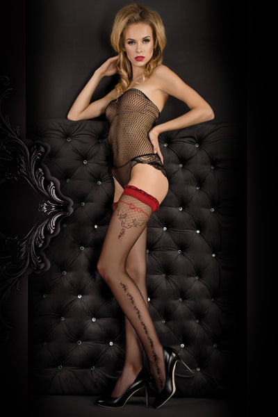 Ballerina Black/Red Floral Hold Ups - Mayfair Stockings