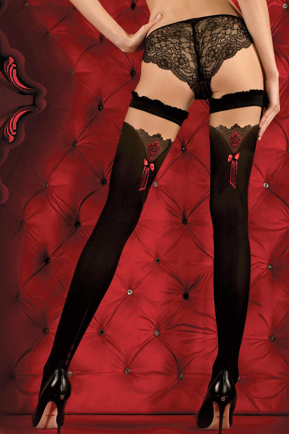 Ballerina Red Bow Opaque Black Hold Ups - Mayfair Stockings - Ballerina - Hold Ups - 1