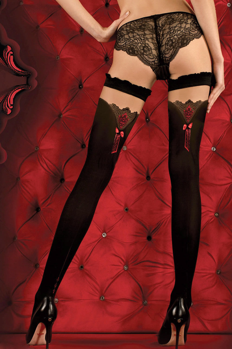 Ballerina Red Bow Opaque Black Hold Ups - Mayfair Stockings