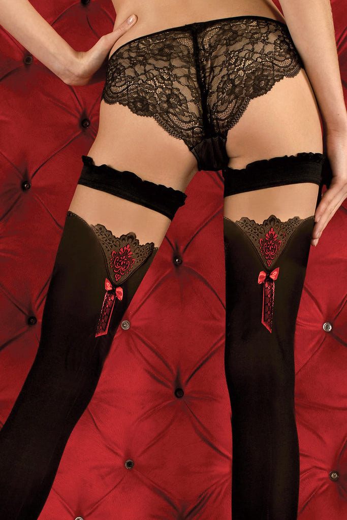 Ballerina Red Bow Opaque Black Hold Ups - Mayfair Stockings - Ballerina - Hold Ups - 3