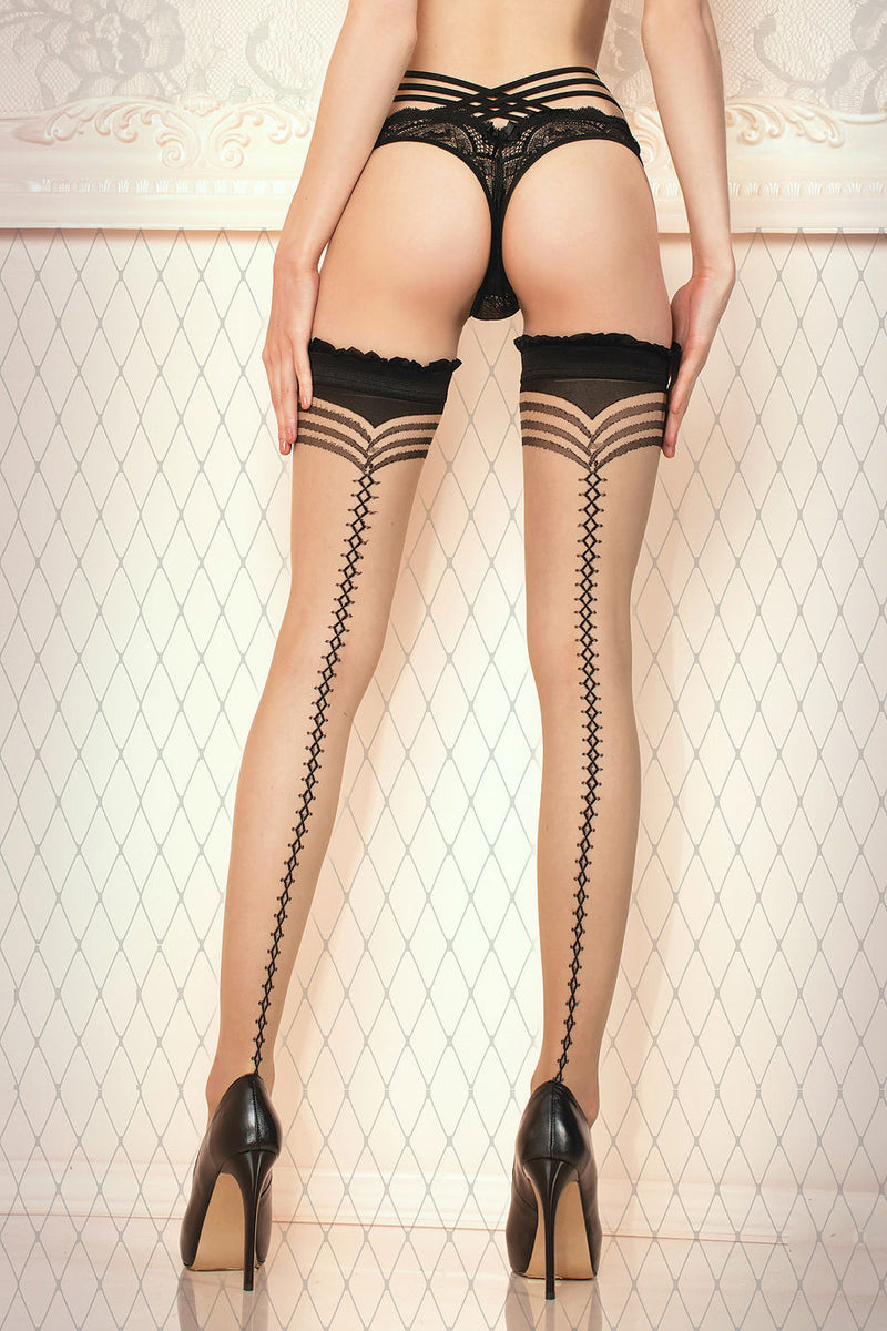 Ballerina Nude/Black Laced Seam Hold Ups - Mayfair Stockings