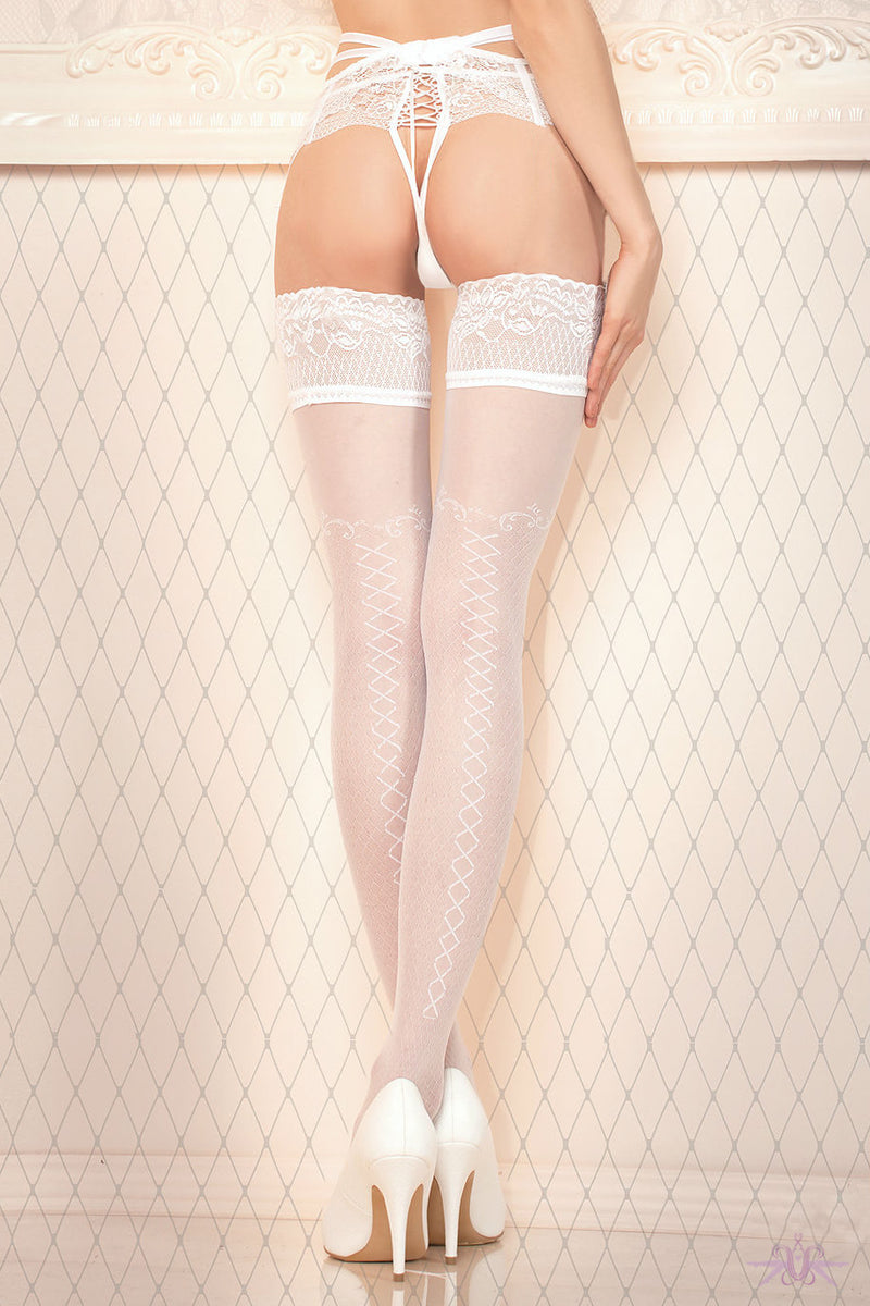 Ballerina Criss Cross Bridal Seamed Hold Ups - Mayfair Stockings