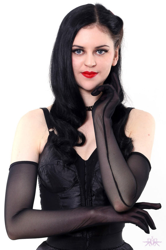 What Katie Did Long Sheer Black Gloves