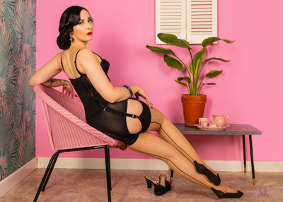 What Katie Did Contrast Champagne/Black Cuban Heel Seamed Stockings - Mayfair Stockings