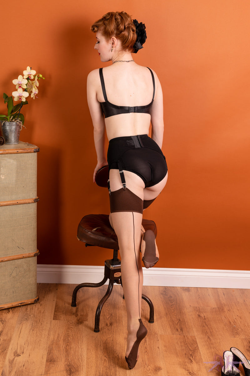 What Katie Did Contrast Champagne/Coffee Cuban Heel Seamed Stockings - Mayfair Stockings